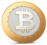 3d close-up of golden Bitcoin coin, decentralized crypto-currency Stock Photos