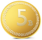 3d close-up of golden Bitcoin coin, decentralized crypto-currency Royalty Free Stock Images