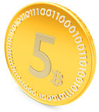 3d close-up of golden Bitcoin coin, decentralized crypto-currency Royalty Free Stock Image