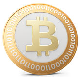 3d close-up of golden Bitcoin coin, decentralized crypto-currency Royalty Free Stock Photography