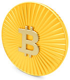3d close-up of golden Bitcoin coin, decentralized crypto-currency Royalty Free Stock Photos