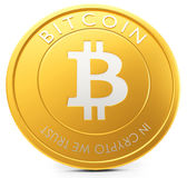 3d close-up of golden Bitcoin coin, decentralized crypto-currency Stock Image