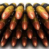 3d Close up of machine gun bullets Stock Photos