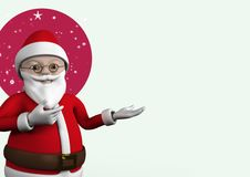3D Close-up of santa claus figurine gesturing. Against digitally generated background Stock Photos