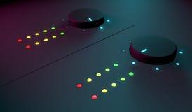 3d close-up van het muzikale materiaal van DJ Stock Afbeeldingen