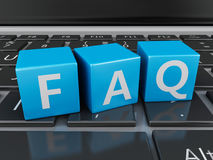 3d Close up view of FAQ cubes on keyboard Royalty Free Stock Photography