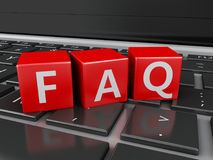 3d Close up view of FAQ cubes on keyboard Stock Photos