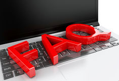 3d Close up view of FAQ on laptop pc Royalty Free Stock Images