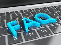 3d Close up view of FAQ on laptop pc Royalty Free Stock Photography