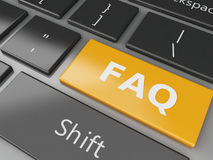 3d Close up view of keyboard FAQ button Royalty Free Stock Image