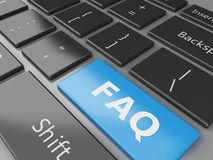 3d Close up view of keyboard FAQ button Stock Photography