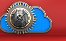 3d closed bank door closed bank door. 3d illustration of cloud with closed bank door over red background Stock Photos
