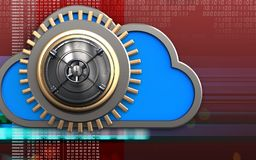 3d closed bank door closed bank door. 3d illustration of cloud with closed bank door over digital red background Royalty Free Stock Image