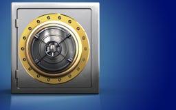 3d closed bank door metal safe. 3d illustration of metal safe with closed bank door over blue background Stock Photo