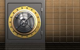 3d closed bank door safe. 3d illustration of metal safe with closed bank door over golden wall background Royalty Free Stock Photo