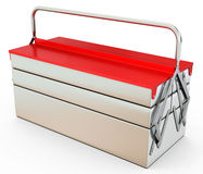 3d closed metallic toolbox. On white background Royalty Free Stock Photos