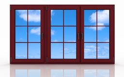 3d closed plastic window on white Stock Photos
