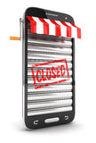 3d closed supermarket smartphone. White background, 3d image Stock Photo