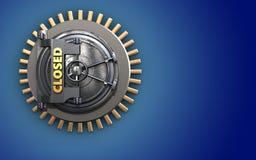 3d closed vault door blank. 3d illustration of closed vault door  over blue background Stock Photo
