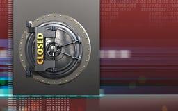 3d closed vault door closed vault door. 3d illustration of metal box with closed vault door over digital red background Royalty Free Stock Photos