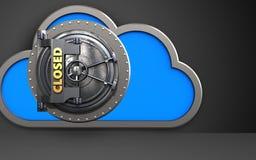 3d closed vault door cloud. 3d illustration of cloud with closed vault door over black background Stock Images