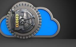 3d closed vault door cloud. 3d illustration of cloud with closed vault door over black background Stock Photos