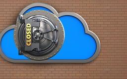 3d closed vault door cloud Royalty Free Stock Images