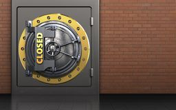 3d closed vault door metal safe. 3d illustration of metal safe with closed vault door over red bricks background Stock Images