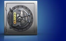 3d closed vault door metal safe. 3d illustration of metal safe with closed vault door over blue background Royalty Free Stock Photography