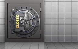 3d closed vault door metal safe. 3d illustration of metal safe with closed vault door over white wall background Stock Photos