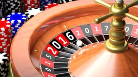 3D closeup of casino roulette. With New year 2016 Royalty Free Stock Image
