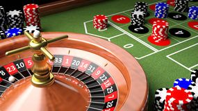 3D closeup of casino table Royalty Free Stock Photos