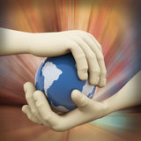 3d closeup of hand globe illustration. 3d rendering of human hand holding world map globe on abstract background Royalty Free Stock Images