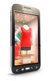 3d clothes shop inside smartphone Stock Images