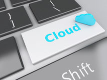 3d Cloud Application on computer keyboard. Cloud computing conce. 3d renderer illustration. Cloud Application on computer keyboard. Cloud computing concept Stock Photo