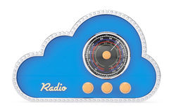 3d Cloud as Vintage Radio. On a white background Royalty Free Stock Images