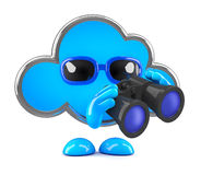 3d Cloud with binoculars Royalty Free Stock Image