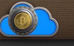 3d cloud bitcoin safe. 3d illustration of cloud with bitcoin safe over bricks background Stock Photography