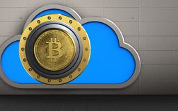 3d cloud bitcoin safe. 3d illustration of cloud with bitcoin safe over iron wall background Stock Images