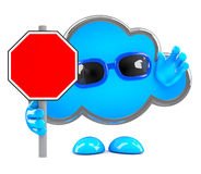 3d Cloud with a blank road sign Stock Images