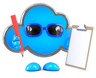 3d Cloud with clipboard and pencil Royalty Free Stock Images