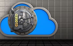 3d cloud closed vault door. 3d illustration of cloud with closed vault door over steel wall background Royalty Free Stock Images