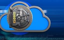3d cloud closed vault door. 3d illustration of cloud with closed vault door over cyber background Royalty Free Stock Photo