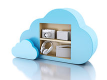 3d Cloud computing concept with multimedia icons on white backgr. 3d renderer illustration. Cloud computing concept with Multimedia icons on white background Stock Photography
