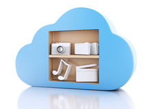 3d Cloud computing concept with multimedia icons on white backgr. 3d renderer illustration. Cloud computing concept with Multimedia icons on white background Royalty Free Stock Images