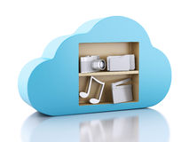 3d Cloud computing concept with multimedia icons on white backgr Stock Photos