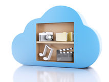 3d Cloud computing concept with multimedia icons on white backgr. 3d renderer illustration. Cloud computing concept with Multimedia icons on white background Royalty Free Stock Photography