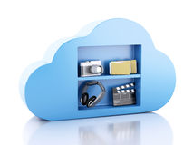 3d Cloud computing concept with multimedia icons on white backgr. 3d renderer illustration. Cloud computing concept with Multimedia icons on white background Royalty Free Stock Photo