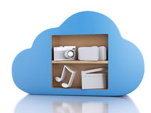 3d Cloud computing concept with multimedia icons on white backgr. 3d renderer illustration. Cloud computing concept with Multimedia icons on white background Stock Photo