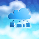 3d Cloud Computing diagram icon. On blue sky background as concept Royalty Free Stock Photo